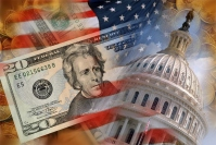 US Flag, Capitol Building and Money